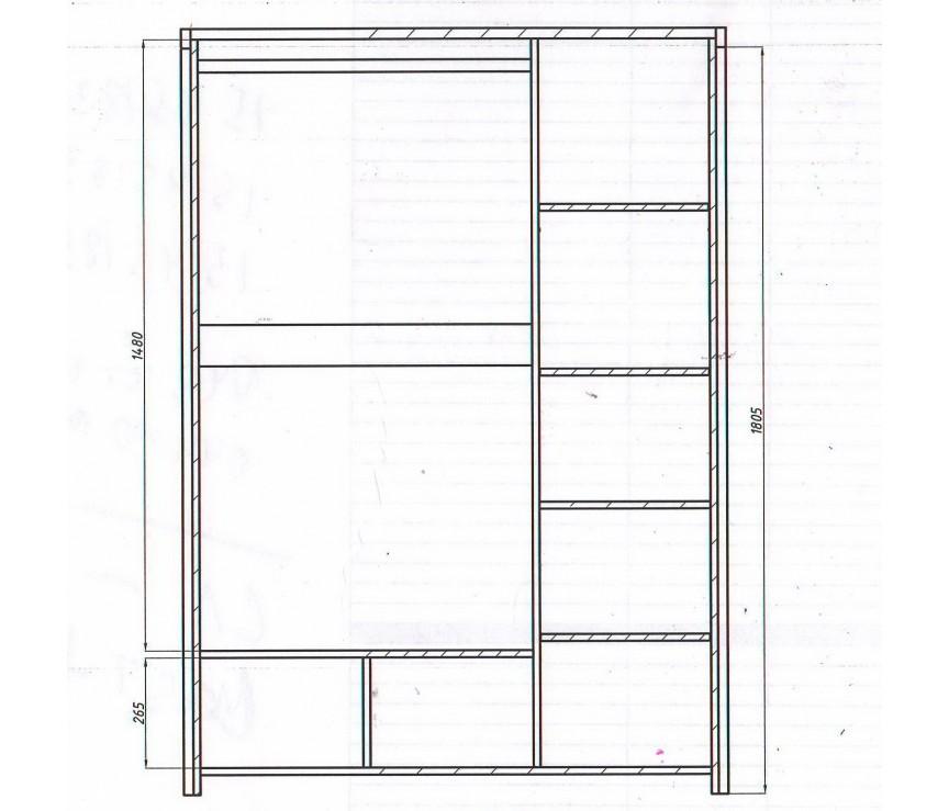 """Коллекция «Шкаф для одежды 3-дверный """"Мишель"""" ВМФ-6653 (высота 1850)»"""